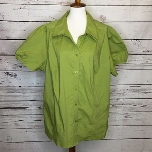 Lane Bryant green button up blouse